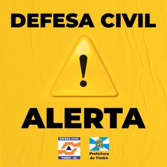Defesa Civil de Timbó emite alerta para alagamentos