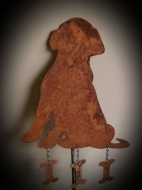 Rustic Metal Puppy Silhouette With Bones