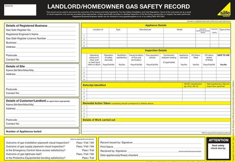 Gas Safety Certificate /