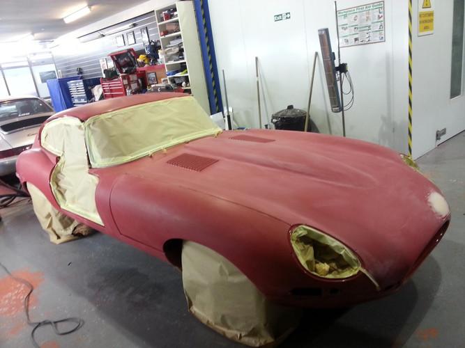 Jaguar E-Type Prepped for Re-Spray