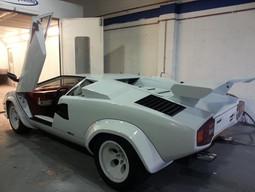White Lamborghini Countach Heading in fo