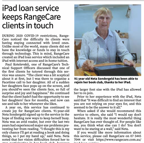 iPad loan service keeps RangeCare clients in touch