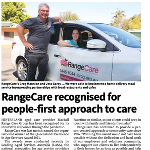 RangeCare recognised for people-first approach to care