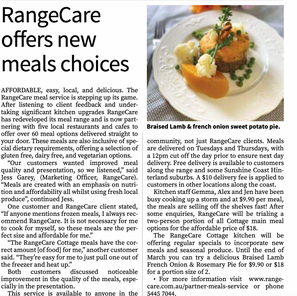 RangeCare offers new meal choices