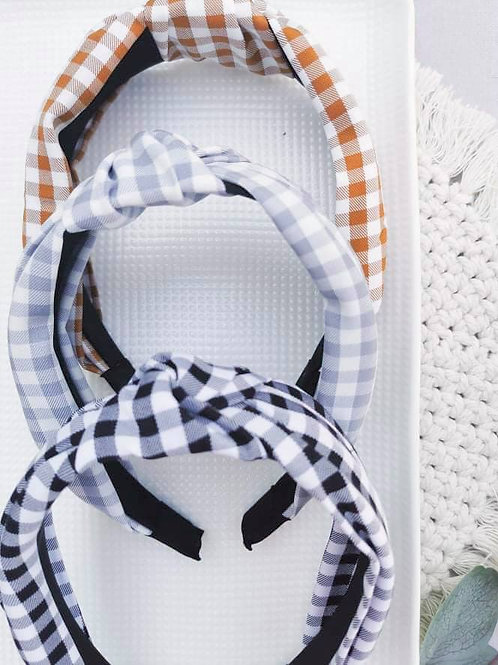 Knotted Plaid Hard Headbands || Select Colour