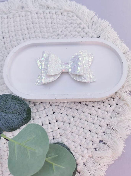White Shimmer    Double Dolly Bow
