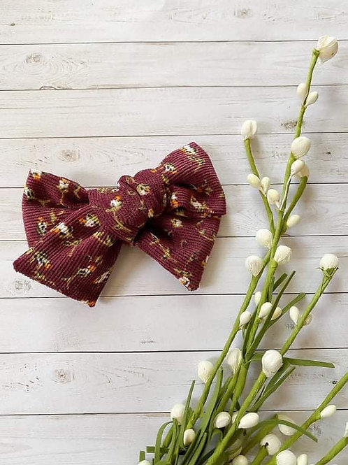 Burgundy Floral || Corduroy || XL Hand-Tied Bow