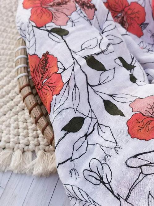 Floral Pop Muslin Blanket