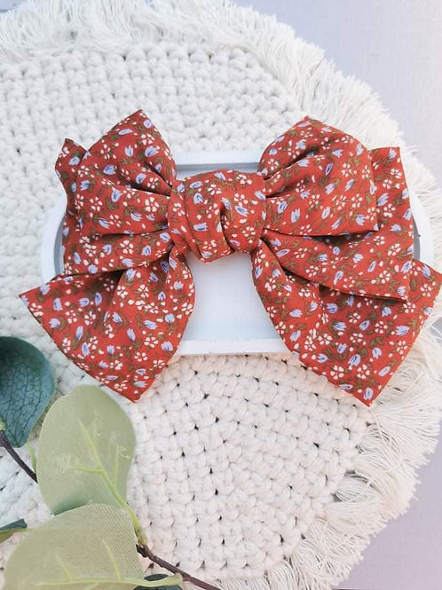Rusty Floral    Oversized Fabric Bow