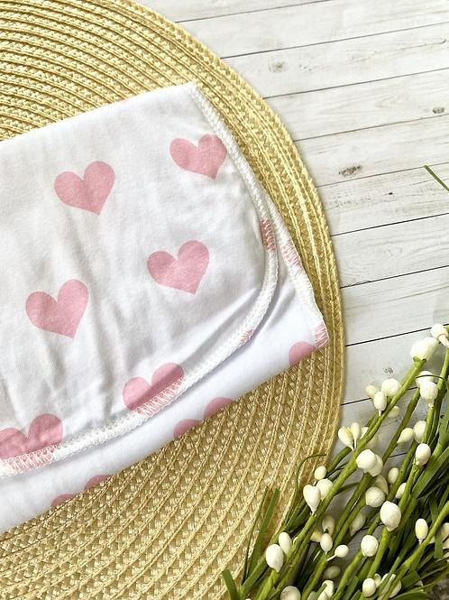 Pink Hearts    Burp Cloth