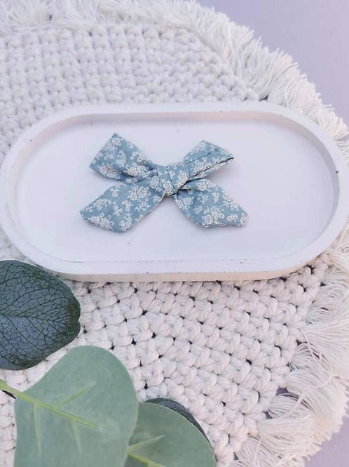 Dusty Blue Floral || Chloe Bow