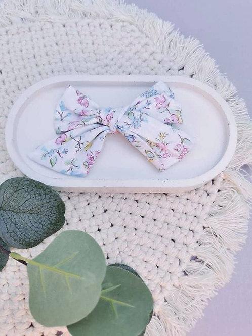 White Floral || XL Chloe Bow