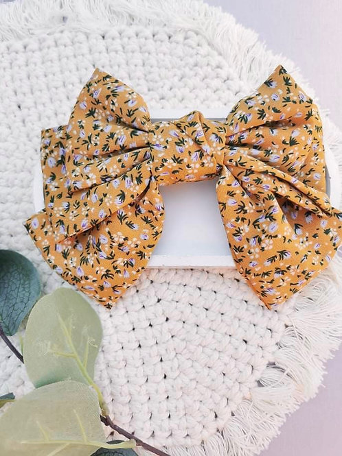Mustard Floral || Oversized Fabric Bow