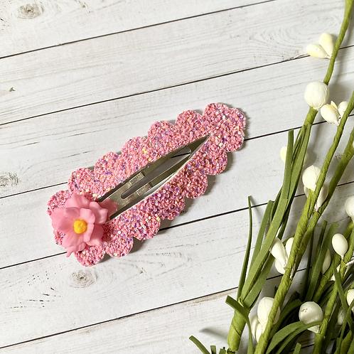 Pink Flower     XXL Snap Clip w clay