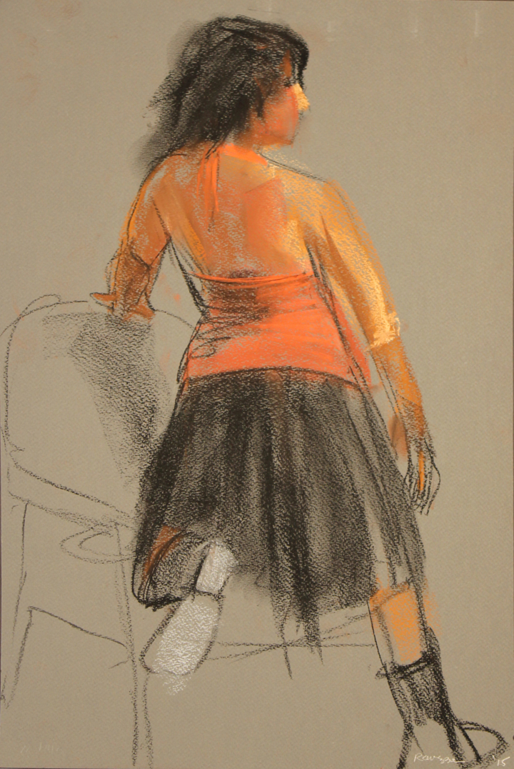 Model from back kneeling into chair