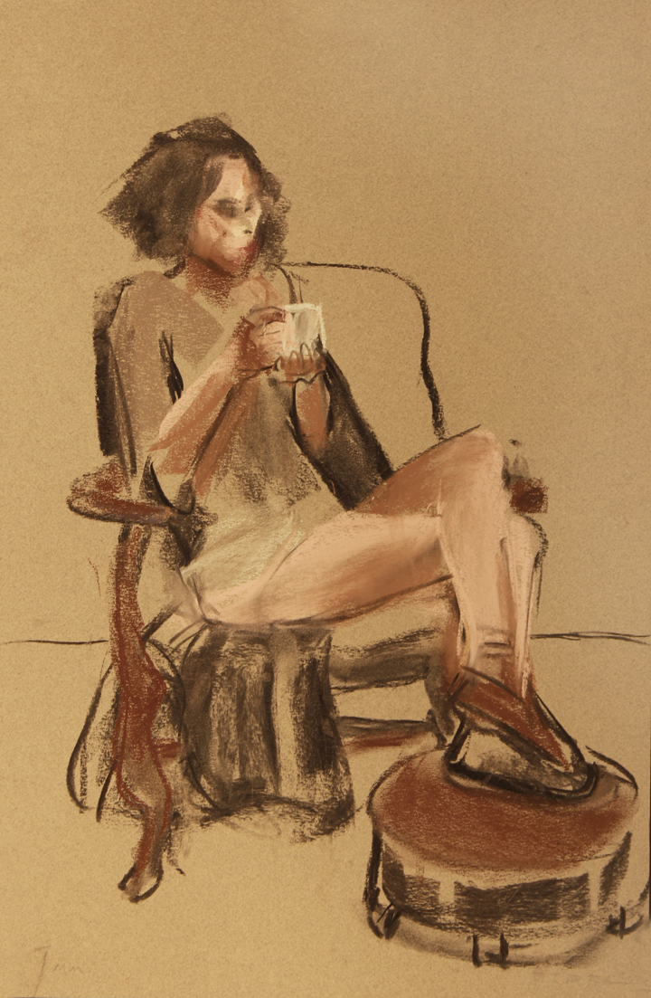 Seated with cup of tea