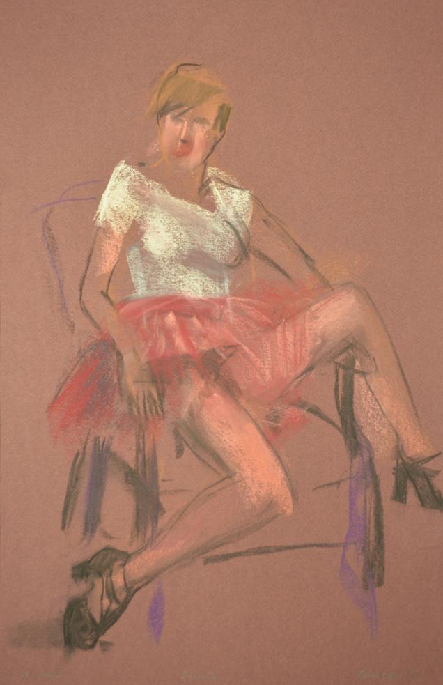 Seated in pink tutu