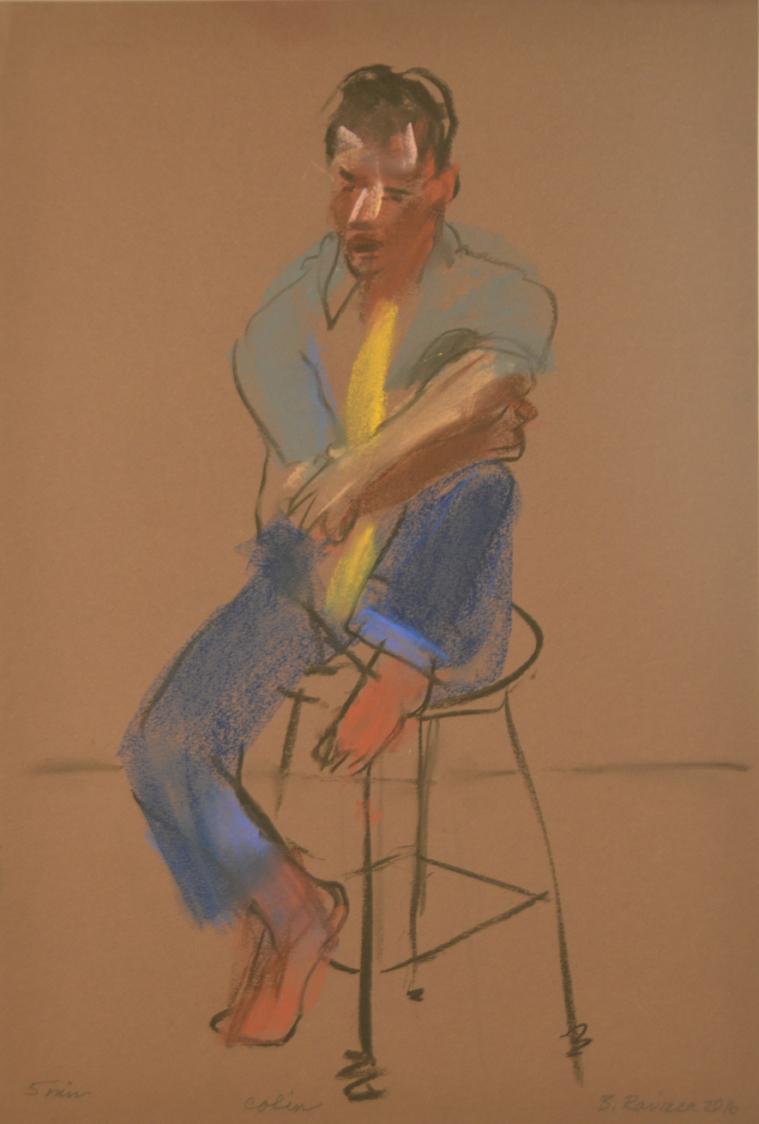 Man seated on stool