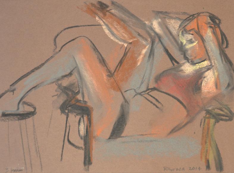 Model seated sideways