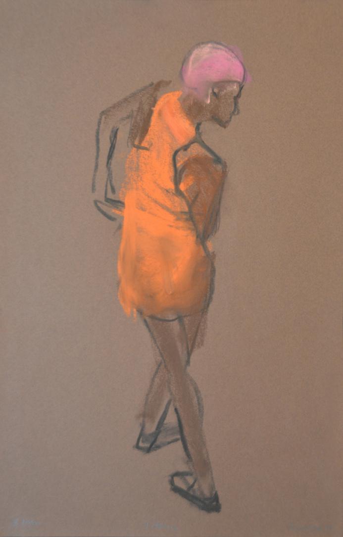 Model from back in orange