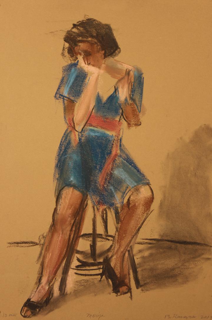 Model seated on stool