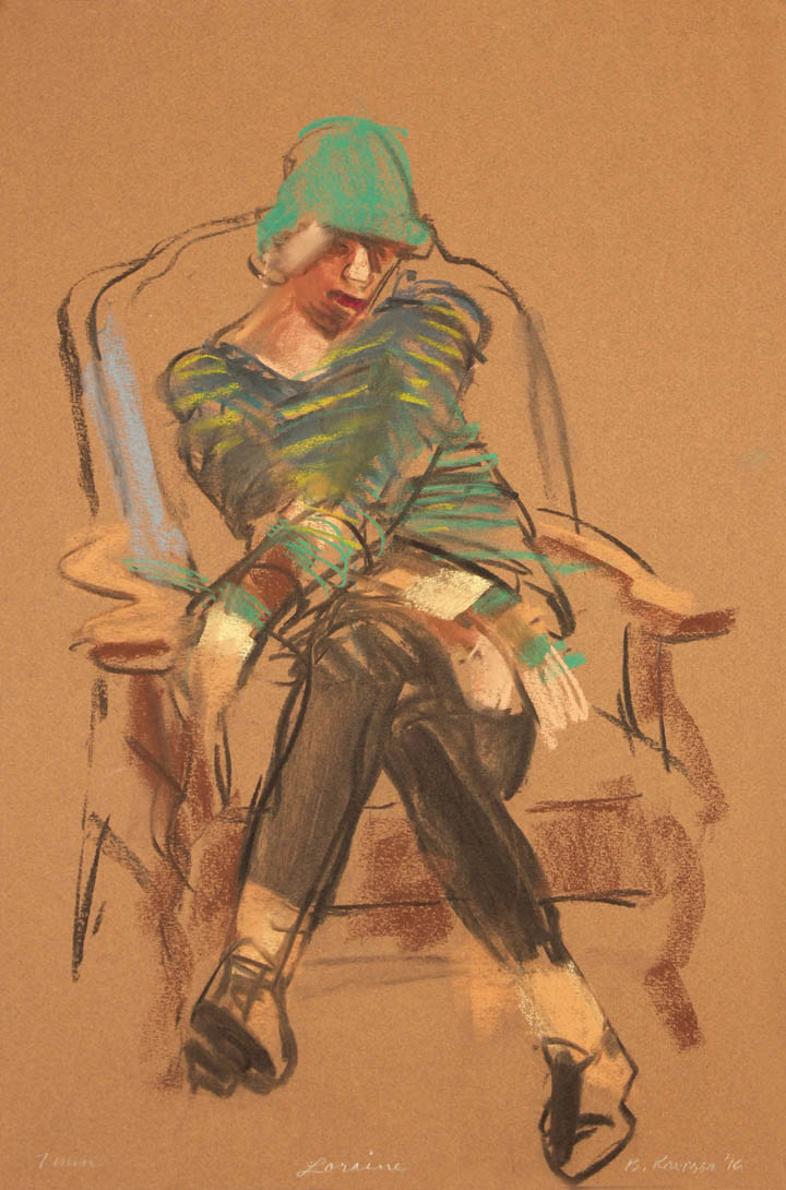 Seated with arms and legs crossed