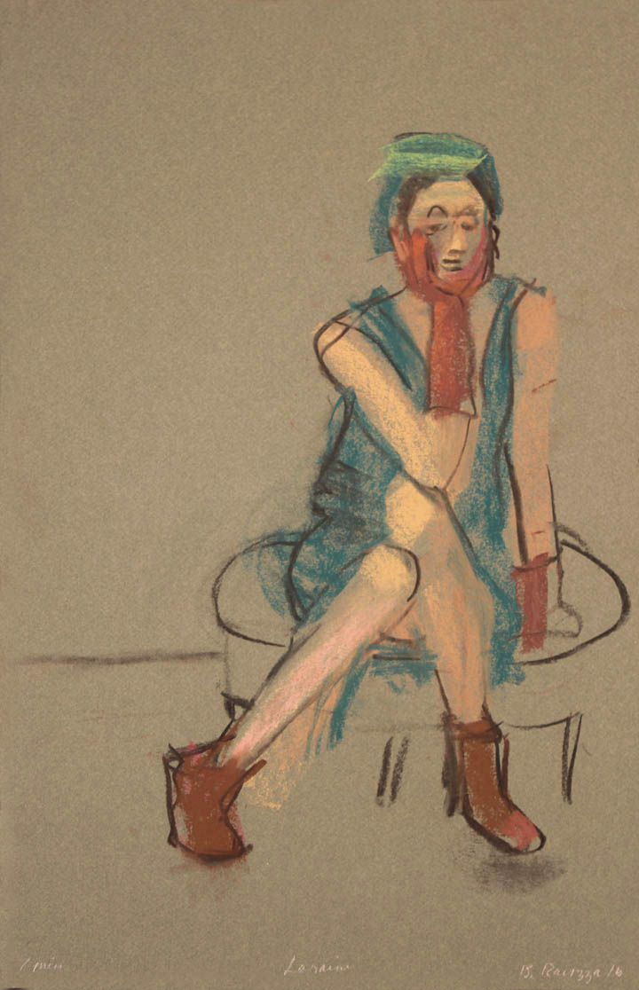 Sitting on low stool