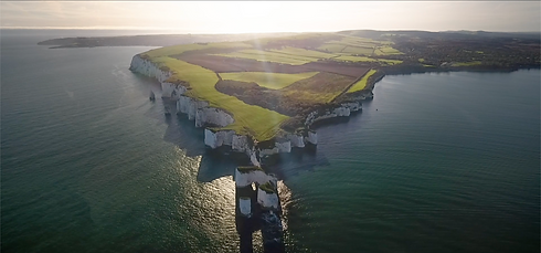 Screenshot of Old Harry Rocks from Social Media Video for Bournemouth, Christchurch & Poole Tourism's 'Take It In' StayHomeSaveLives Campaign