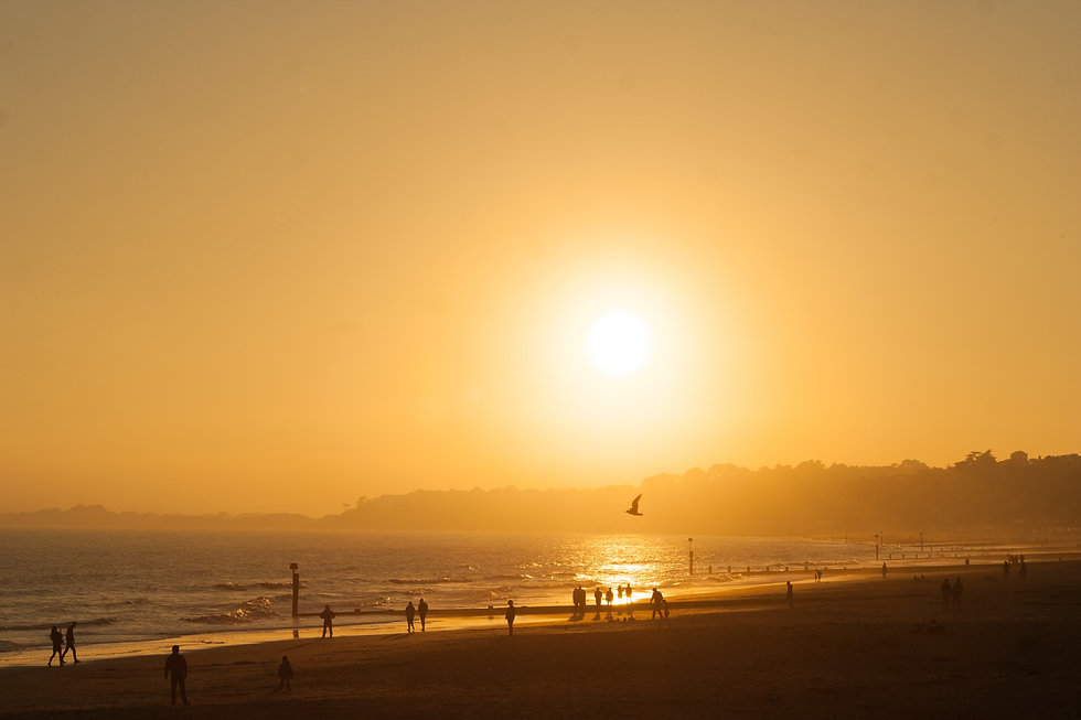 Durley Chine Beach in Bournemouth at Sunset