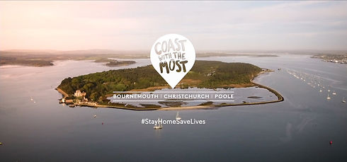 Screenshot of Bronwsea Island, Poole Harbour from Social Media Video for Bournemouth, Christchurch & Poole Tourism's 'Take It In' StayHomeSaveLives Campaign