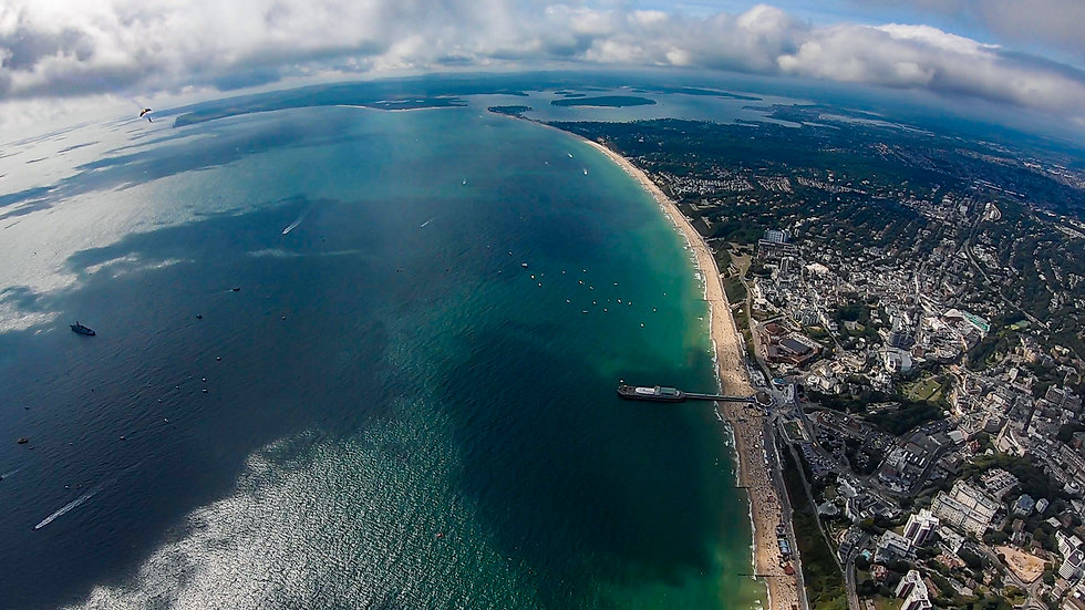 Aerial of Bournemouth and Poole at Bournemouth Air Festival