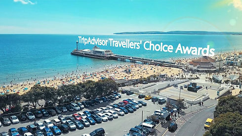 Screenshot from Social Media Video celebrating Bournemouth Beach topping the Trip Advisor Travellers Choice Awards Best Beaches 2018