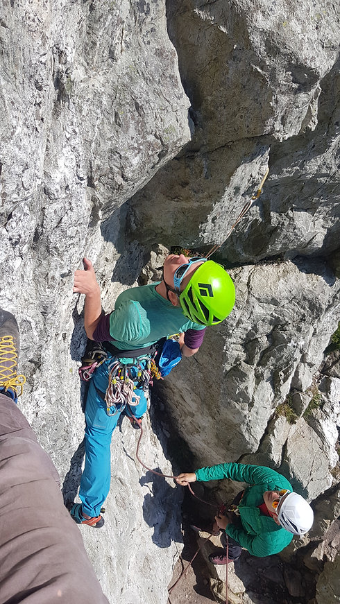 Learning to Trad Lead Climb at Holyhead Mountain