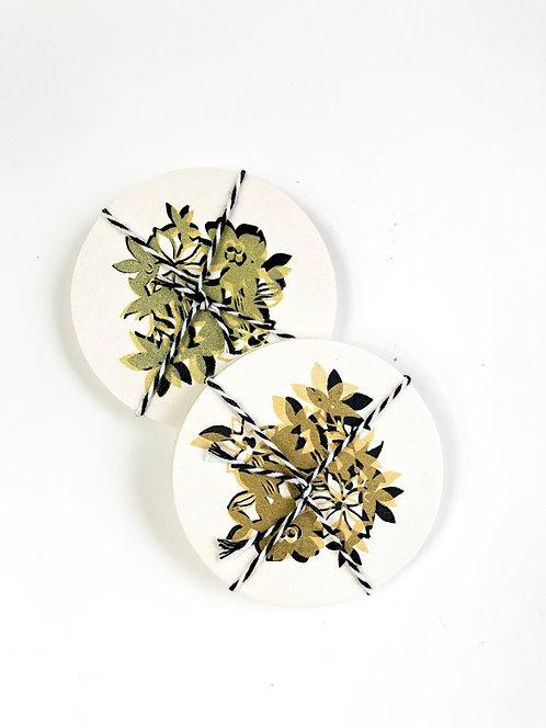 Gold Floral Coaster Set