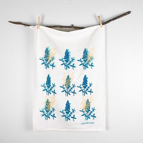 Blue Bonnet Floral   Tea Towel