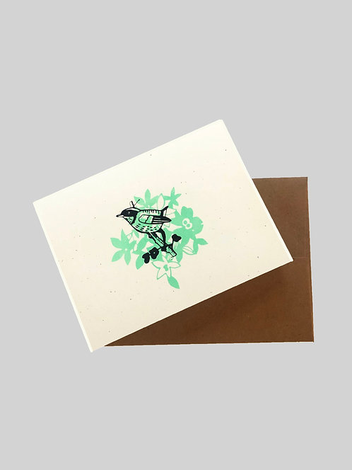 BIRD FLORAL - GREETING CARD