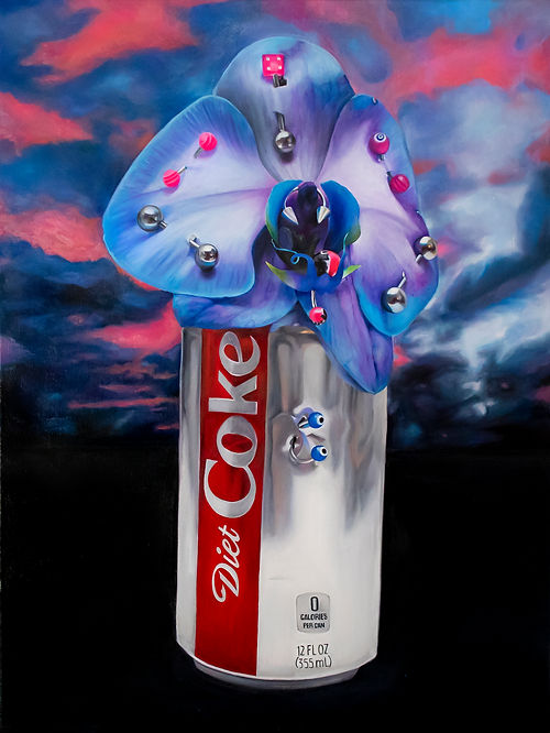 """Painting by Kelly Shami titled """"Baby, did you eat yet?"""" A diet coke can with a pierced orchid."""