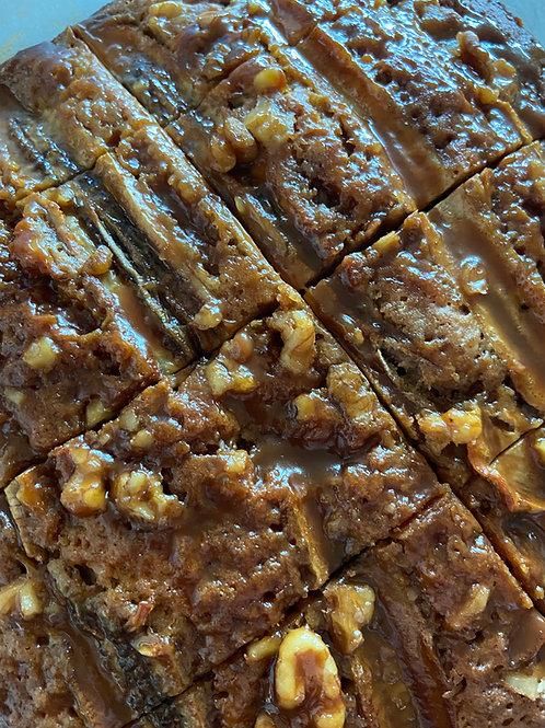 GF banana walnut slice with salted caramel