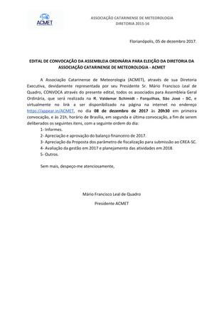 Edital de Convocação da Assembleia Ordinária para Eleição da Diretoria da Associação Catarinense de