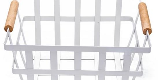 TIDEE BASKET WHITE | METAL | WOODEN HANDLES