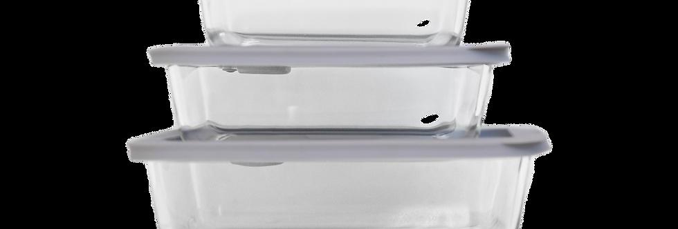 CLICKCLACK 3 PIECE RECTANGULAR GLASS STORAGE NEST   BPA Free   Microwave Safe