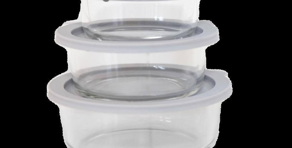 CLICKCLACK 3 PIECE ROUND GLASS NEST | BPA Free | Microwave Safe