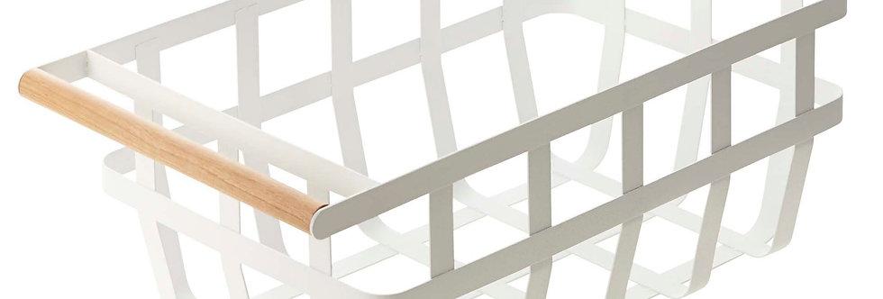 WHITE YAMAZAKI BASKET | Metal | Wooden Handle