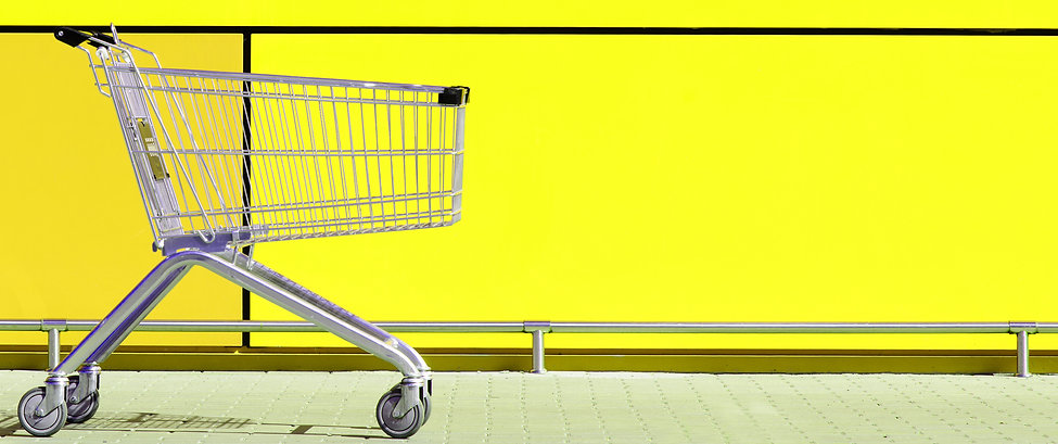Empty Shopping Cart for buyer, parked in