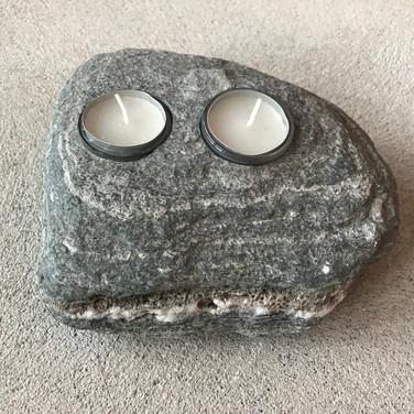 Teelicht Zwilling in Stein