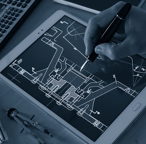 engineer designer working on cad bluepri