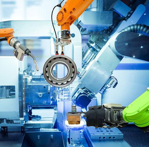 Industrial robotic welding and robot gri
