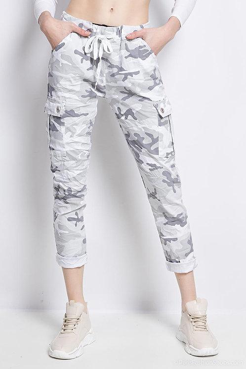 Camo cargo pants White