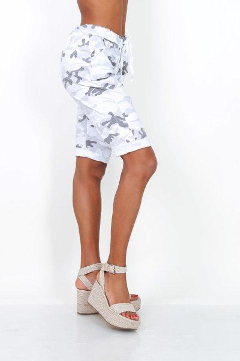 Camo print shorts White