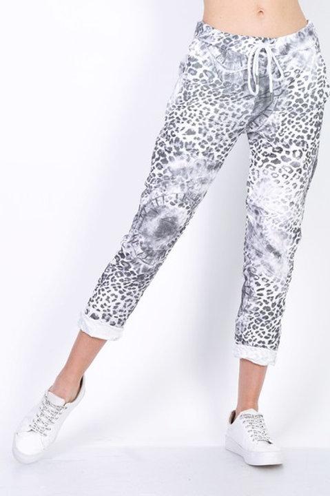 Leopard Print pants Gray